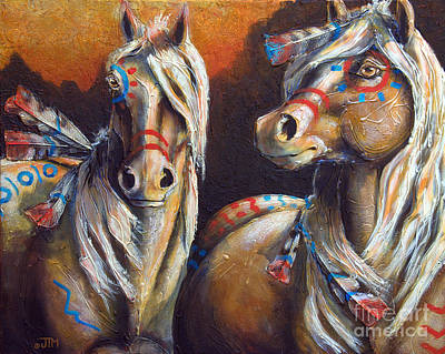 Native American Symbols Painting - Two Coins by Jonelle T McCoy