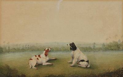 Dog In Landscape Painting - Two Dogs In A Landscape by Shaykh Muhammad