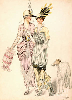 Fashion Design Drawing - Two Dresses For The Goodwood Races by English School