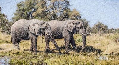 Elephant Digital Art - Two Elephant Bulls In The Okavango Delta Of Botswana by Liz Leyden