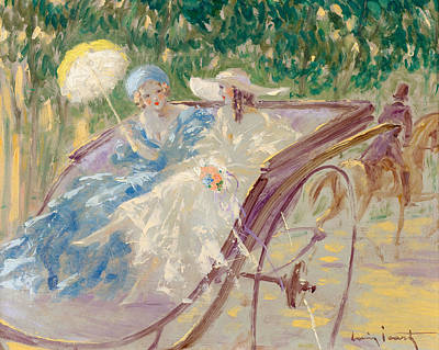 Louis Icart Painting - Two Fashionable Young Women In An Open Carriage by Louis Icart