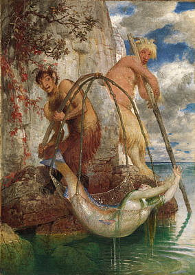 Arnold Boecklin Painting - Two Fishing Pan's by Arnold Boecklin