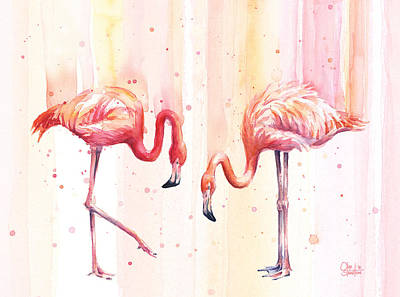 Two Flamingos Watercolor Print by Olga Shvartsur