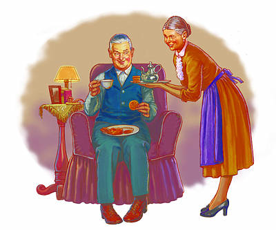 Grandparent Mixed Media - Two For Tea by Valer Ian