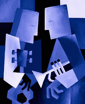 Geometric Painting - Two For The Blues by Thomas Andersen