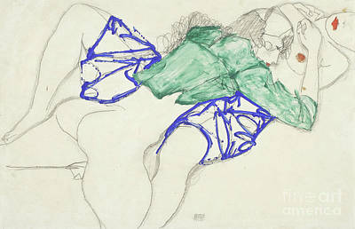 Reclining Drawing - Two Friends, Reclining   Tenderness by Egon Schiele