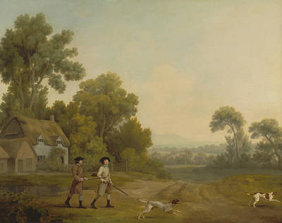 18th Century Painting - Two Gentlemen Going A Shooting by George Stubbs