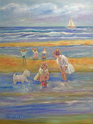 Two Girls Playing In The Sea Original by Verlaine Crawford