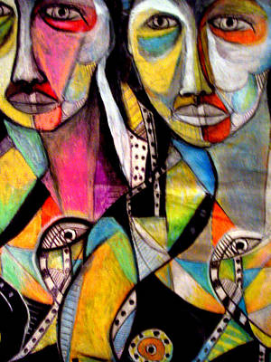 Robert Daniels Mixed Media - Two Girls by Robert Daniels