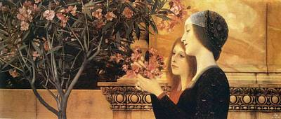 Oleanders Painting - Two Girls With An Oleander by Gustav