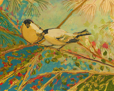 Animals Love Painting - Two Goldfinch Found by Jennifer Lommers
