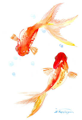 Koi Drawing - Two Goldfish Feng Shui by Suren Nersisyan