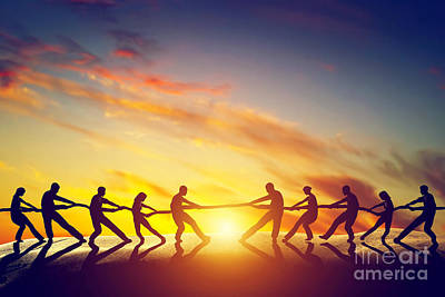 Business Photograph - Two Groups Of People Pulling Line by Michal Bednarek