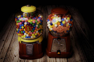 Coins Photograph - Two Gumball Machines by Garry Gay