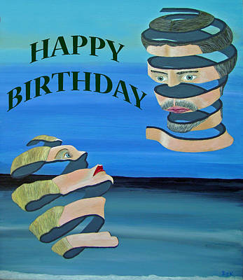 Special Occasion Mixed Media - Two Heads Happy Birthday by Eric Kempson