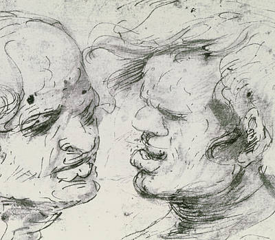 2 Faces Drawing - Two Heads by Leonardo Da Vinci