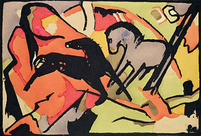 Indian Ink Painting - Two Horses by Franz Marc