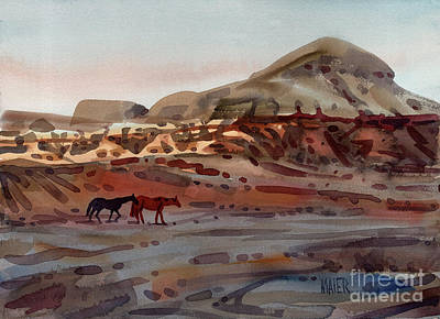 Two Horses In The Arroyo Original by Donald Maier