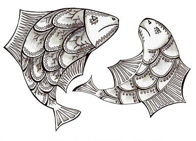 Pisces Fish Drawing - Two Ink Pen Graphic Hand Drawn Black And White Fish by Victoria Yurkova