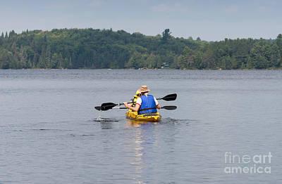 Canoe Photograph - Two Kayak Paddlers by Les Palenik