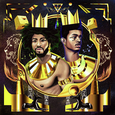 Painting - Two Kings Ian And Trevor Jackson by Kenal Louis