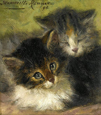 Henriette Ronner-knip Painting - Two Kittens by Henriette Ronner-Knip