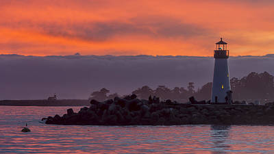 Two Lighthouses At Sunset  Print by Bruce Frye