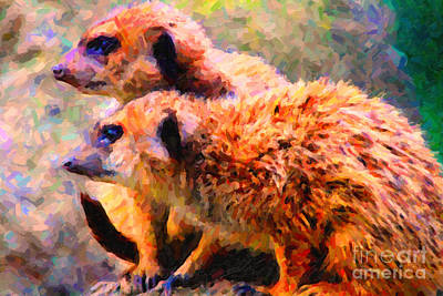 Meerkat Digital Art - Two Meerkats . Photoart by Wingsdomain Art and Photography