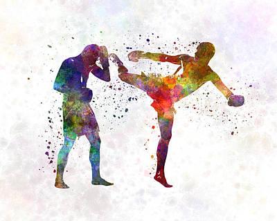 Two Men Exercising Thai Boxing Silhouette 01 Print by Pablo Romero