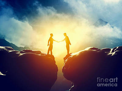 Connect Photograph - Two Men Handshake Over Mountains Precipice by Michal Bednarek
