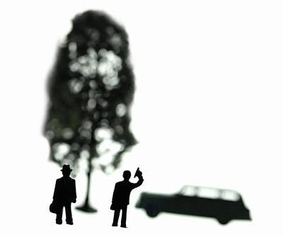 Two Men Visit Tree Print by Mark Wagoner