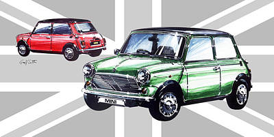 Austin Drawing - Minis by Geoff Latter