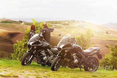 Couples Photograph - Two Motorcyclists Enjoying The View In Tuscany by Wolfgang Steiner