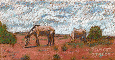 Two Mustangs Print by Suzie Majikol Maier