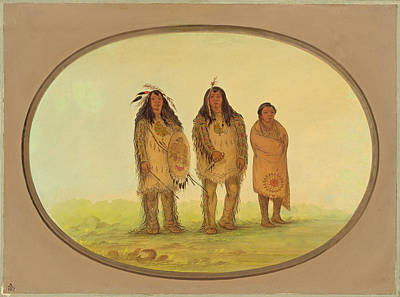 Painting - Two Nezperce Warriors And A Boy by George Catlin