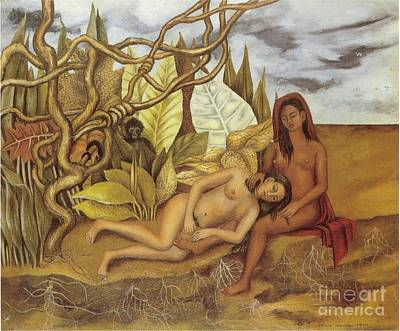 Kahlo Mixed Media - Two Nudes In The Forest by Frida Kahlo