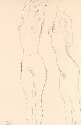 Klimt Drawing - Two Nudes The Left One With Raised Arms  by Gustav Klimt