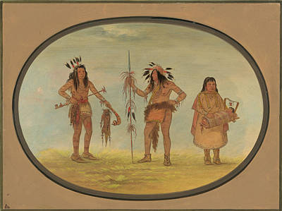 Painting - Two Ojibbeway Warriors And A Woman by George Catlin