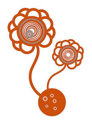 Ornate Drawing - Two Orange Flowers by Frank Tschakert