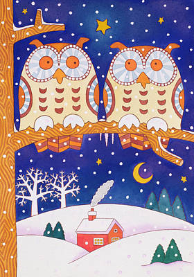 Snowy Night Painting - Two Owls On A Branch by Cathy Baxter