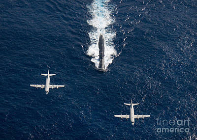Navy Photograph - Two P-3 Orion Maritime Surveillance by Stocktrek Images