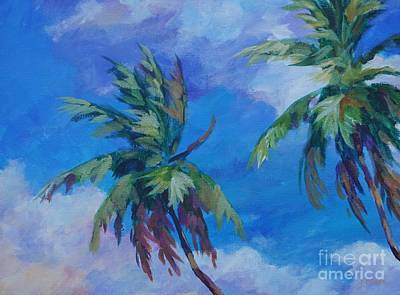 Caribbean Painting - Two Palms And Clouds by John Clark