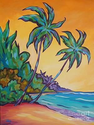 Bahamas Landscape Painting - Two Palms by John Clark