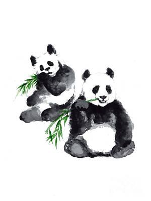 Two Pandas Watercolor Painting Print by Joanna Szmerdt
