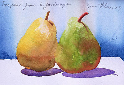 Two Pears From The Jardinage Print by Simon Fletcher