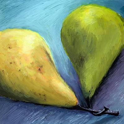 Restaurant Art Drawing - Two Pears Still Life by Michelle Calkins