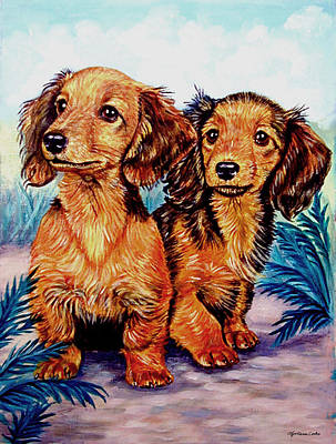 Dachshund Puppy Painting - Two Peas In A Pod - Dachshund by Lyn Cook