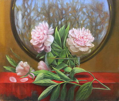 Two Peonies Original by Loretta Fasan