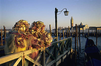 Two People In Venice Carnival Masks Print by Petr Svarc