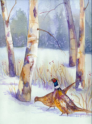 Two Pheasants In Winter Original by Peggy Wilson